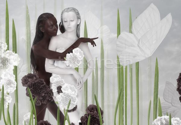 Verbeelding twee vrouwen gekleurd zwart wit bloem gras Stockfoto © gromovataya