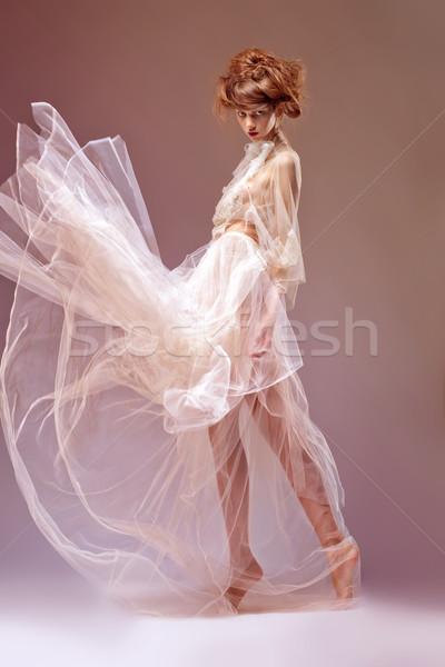 Portre güzel bir kadın ortaçağ çağ elbise cüppe Stok fotoğraf © gromovataya