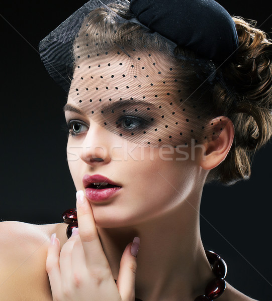 Aristocratic Profile of Romantic Retro Styled Woman in Black Veil and Hat. Vintage Stock photo © gromovataya