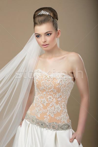 Wyrafinowany kobieta nowoczesne sukienka piękna Zdjęcia stock © gromovataya