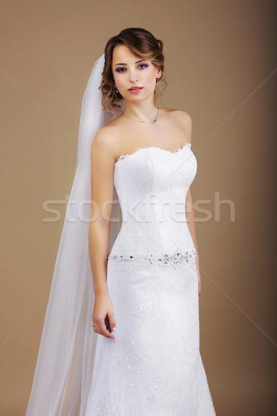 привлекательный невеста белое платье вуаль женщину девушки Сток-фото © gromovataya