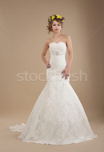 Charming Woman in Bridal Dress with Wreath of Flowers Stock photo © gromovataya