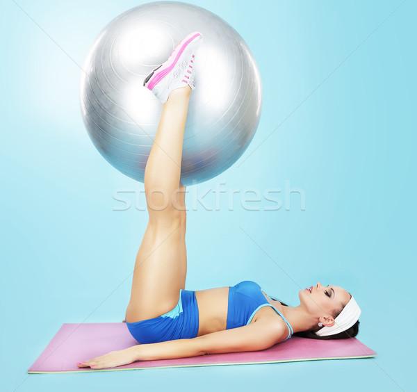 Gym. Wellness. Sporty Woman with Fitness Ball Stock photo © gromovataya