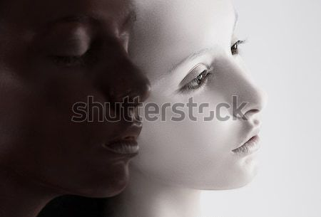 Cultural Diversity. Two Faces Colored Black & White. Yin Yang Style Stock photo © gromovataya