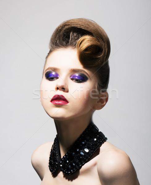 Fashion Style. Glamorous Brunette in Black Collar and Trendy Hairdo Stock photo © gromovataya