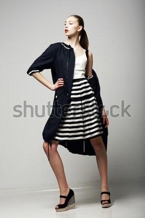 Hareket canlılık lüks süper moda elbise Stok fotoğraf © gromovataya