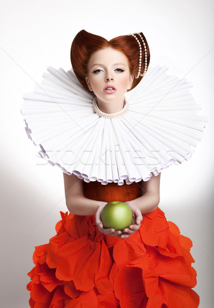 Retro Style. Portrait of Styled Redhead Woman Duchess in Vintage Frill Stock photo © gromovataya