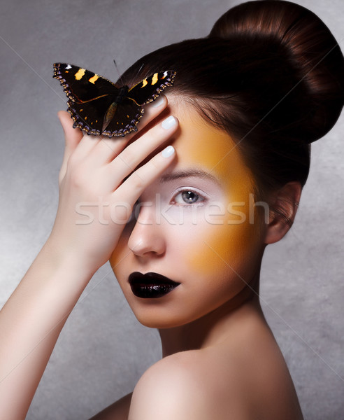 Foto stock: Mulher · borboleta · criador · brilhante · compensar
