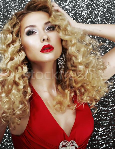 Beautiful Young Woman Fashion Model with Holiday Makeup and Jewelry Stock photo © gromovataya