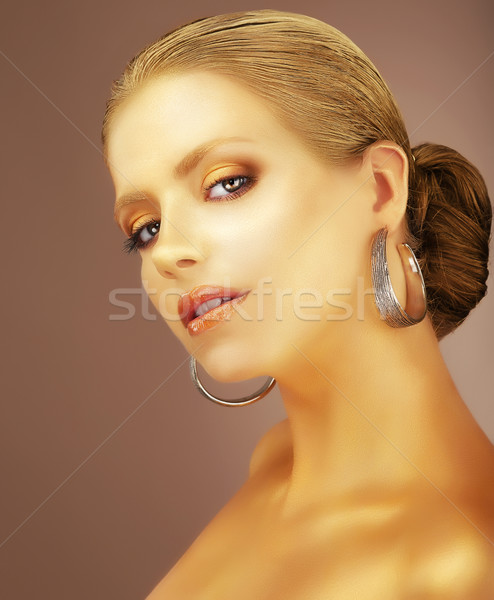 Sophistication. Portrait of Noble Aristocratic Lady with Earrings Stock photo © gromovataya
