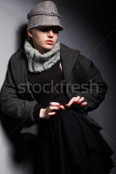 Trendy Woman Mod in Woolen Cap and Jacket - Seasonal Collection Stock photo © gromovataya