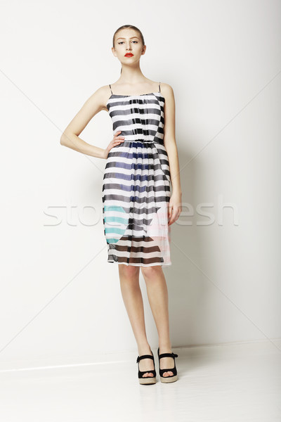 Contemporary Clothes Collection. Woman in Spring Light Dress with Grey Streaks. Fashion Stock photo © gromovataya