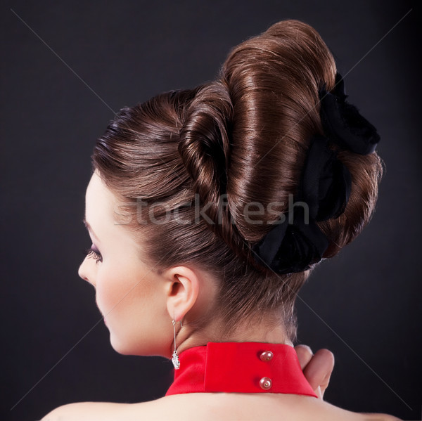 Festive hairstyle and holiday coiffure Stock photo © gromovataya