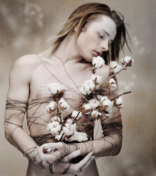 Stilizált fiatal szerető férfi köteg virágzó Stock fotó © gromovataya