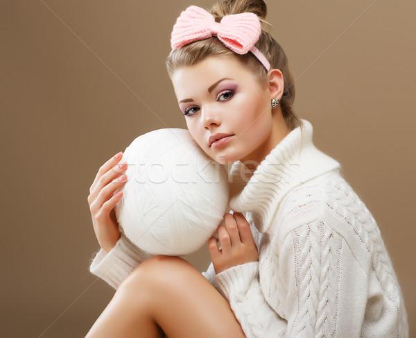 Hosiery. Beautiful Teen in Handmade Woven Sweater with White Ball of Yarn Stock photo © gromovataya