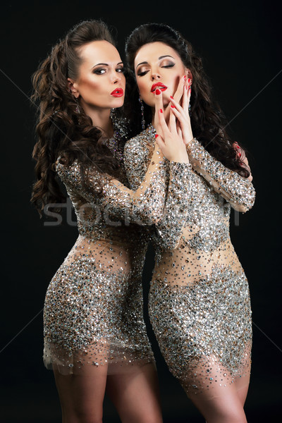 Temptation. Two Flirtatious Sexy Women Touching Each Other Stock photo © gromovataya