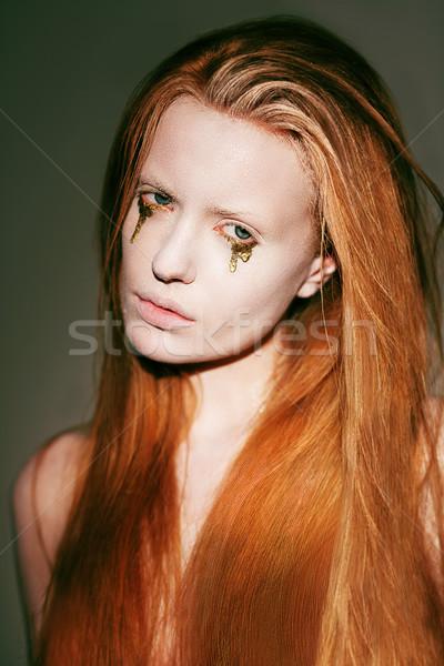 Bodyart. Face of Fanciful Red Hair Woman with Creative Stagy Art Make-up Stock photo © gromovataya