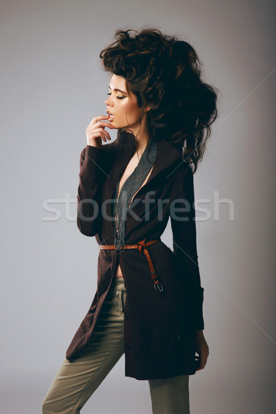 Vogue Style. Classy Fashion Model in Stylish Brown Jacket and Pants Stock photo © gromovataya