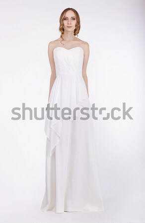 Fashion Model Standing in Long White Dress Stock photo © gromovataya