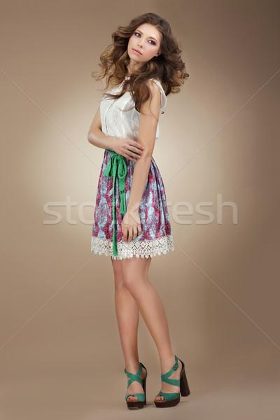 Sentimentality. Elegant Cute Female in Stylish Dress Stock photo © gromovataya