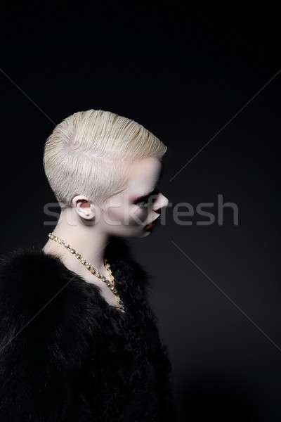Charisma. Profile of Blonde Fashion Model with Bob Hairdo Stock photo © gromovataya