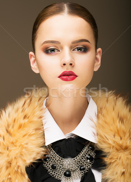Glamour. Portrait of Honorable Fashionable Woman in  Rufous Fur Collar Stock photo © gromovataya