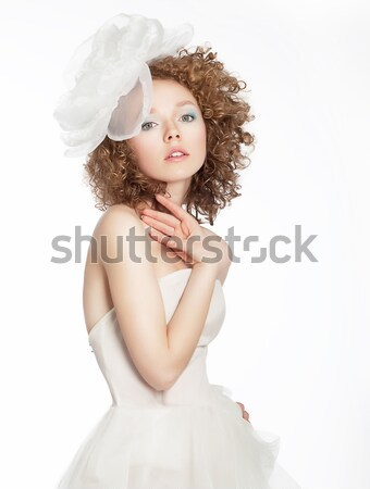 Romance. Refined Frizzy Golden Hair Woman with White Bow. Sensuality & Femininity Stock photo © gromovataya