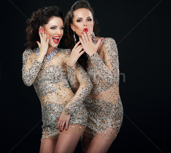 Excitement. Pleasure. Two Happy Women Laughing Together Stock photo © gromovataya