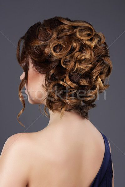 Rear View of Woman's Festive Hairstyle. Waved Hairs Stock photo © gromovataya