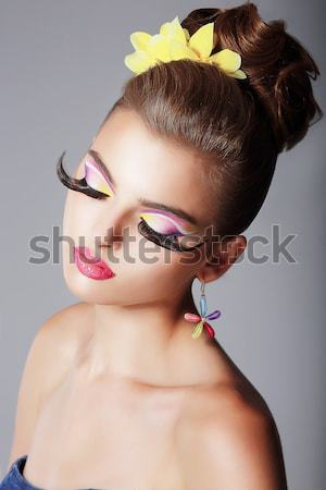 Portrait of glamorous young woman - stylish fashion model Stock photo © gromovataya
