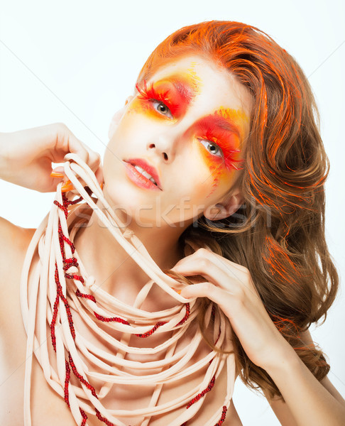 Expression. Face of Bright Red Hair Artistic Woman. Art Concept Stock photo © gromovataya