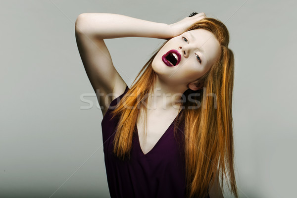 Shock. Neurotic Unhappy Red Head Woman Pulling Her Hair in Frustration. Scream Stock photo © gromovataya