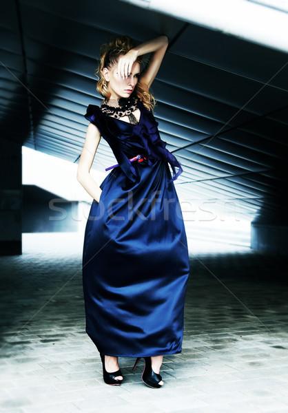 Fashionable model in modern dress on industrial background Stock photo © gromovataya
