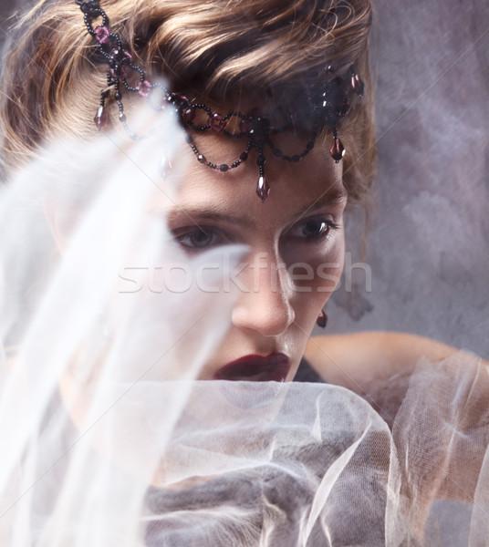 Emotionen Porträt nobel Frau Gesicht Bewegung Mädchen Stock foto © gromovataya
