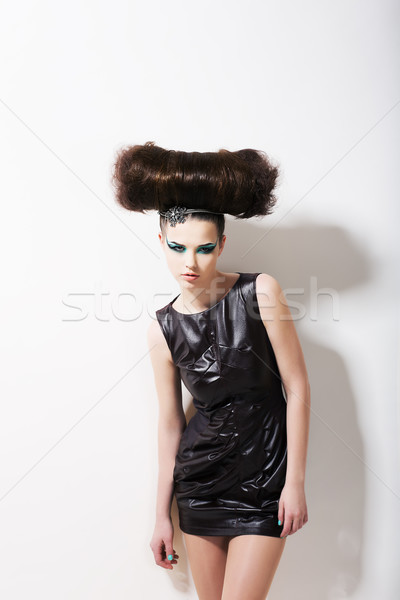 Modern Style. Funny Glamorous Fashion Model with Punk Coiffure. Creativity Stock photo © gromovataya
