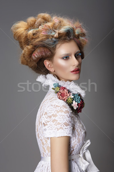 Updo. Dyed Hair. Woman with Modern Hairstyle. High Fashion Stock photo © gromovataya