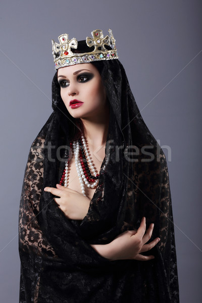 Witchcraft. Woman in Old-Fashioned Clothes and Crown Stock photo © gromovataya