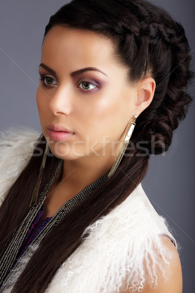 Profile of Brown Hair Woman with Braided Plait Stock photo © gromovataya