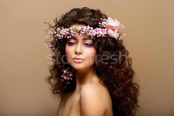 Maiden. Virginity. Beauty Fashion Model Young Romantic Girl - Brown Frizzle Stock photo © gromovataya