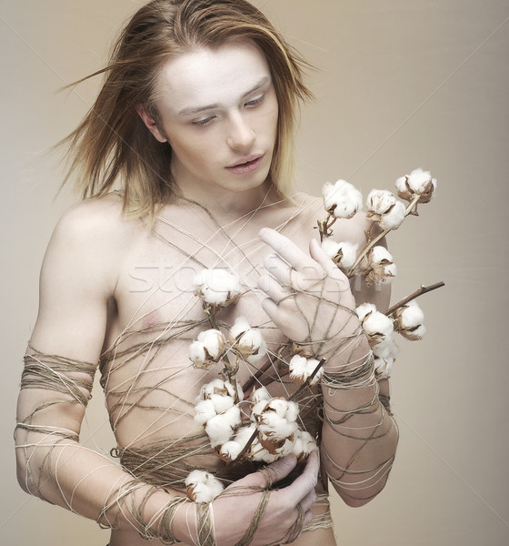 Giovane bouquet fiori cotone Foto d'archivio © gromovataya