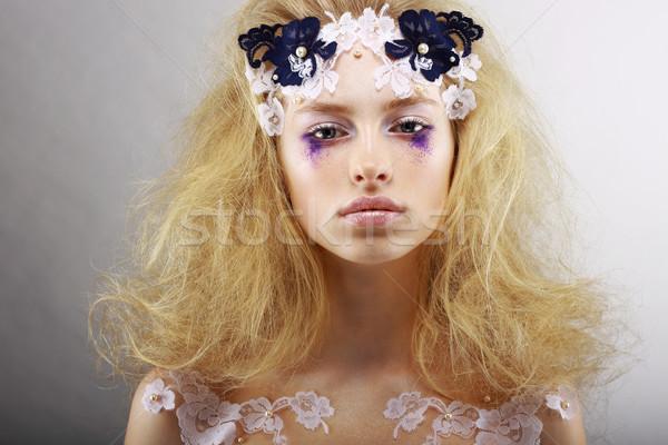 Fantázia portré fényes szőke szokatlan smink Stock fotó © gromovataya
