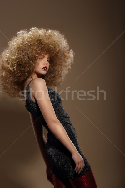 Haute Couture. Fashion Woman with Fancy Hairstyle Stock photo © gromovataya