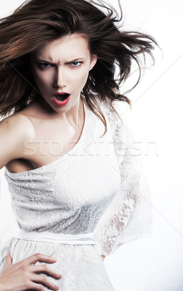 Emotions - emotional strict female girl yelling Stock photo © gromovataya
