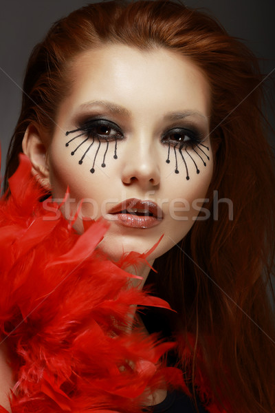 Theater. Stage. Styled Woman's Face with Creative Eye Make-up Stock photo © gromovataya