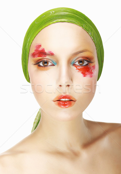 Quaintness & Eccentricity. Styled Woman's Face with Theatrical Makeup Stock photo © gromovataya