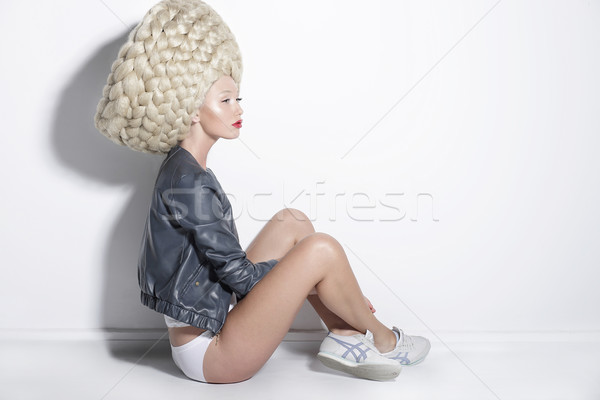 Fantasy & Inspiration. Woman in Unusual Wig with False Braided Hair Stock photo © gromovataya