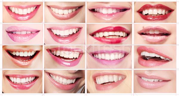 Lipsticks. Set of Women's Lips. Toothy Smiles Stock photo © gromovataya