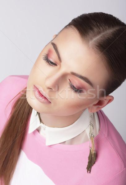 álomszerű fiatal lány csukott szemmel lány ajkak fiatal Stock fotó © gromovataya