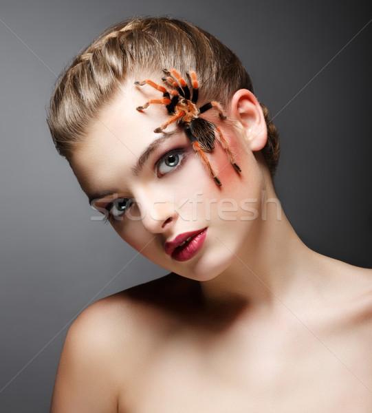 Fantasy. Portrait of beautiful Female Tamer with Spider Stock photo © gromovataya