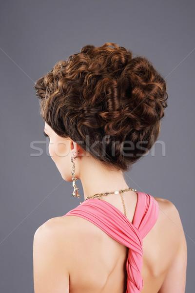 Cabelo cabelo castanho mulher penteado Foto stock © gromovataya